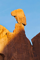 The Queen Nefertiti rock near the Broadway walk in Arches national Park, Utah, USA.