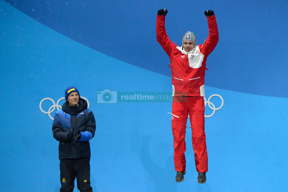 February 22, 2018 - Pyeongchang, South Korea - MICHAEL MATT of Austria celebrates getting the bronze medal in the Men's Slalom ski racing event in the PyeongChang Olympic Games. (Credit Image: © Christopher Levy via ZUMA Wire)