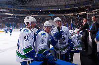 PENTICTON, CANADA - SEPTEMBER 8: Zack MacEwan #64, Brock Boeser #6 and Michael Carcone #58 of Vancouver Canucks enter the bench against the Winnipeg Jets on September 8, 2017 at the South Okanagan Event Centre in Penticton, British Columbia, Canada.  (Photo by Marissa Baecker/Shoot the Breeze)  *** Local Caption ***