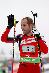 11.12.2011, Biathlonzentrum, Hochfilzen, AUT, E.ON IBU Weltcup, 2. Biathlon, Hochfilzen, Staffel Herren, im Bild Mesotitsch Daniel (Team Austria) gruesst die Fans // during Team Relay E.ON IBU World Cup 2th Biathlon, Hochfilzen, Austria on 2011/12/11. EXPA Pictures © 2011. EXPA Pictures © 2011, PhotoCredit: EXPA/ nph/ Straubmeier..***** ATTENTION - OUT OF GER, CRO *****