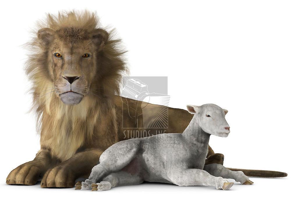A Lion and lamb laying together in peace