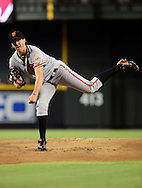 Sep. 15, 2012; Phoenix, AZ, USA; San Francisco Giants pitcher Barry Zito (75) pitches during the game against the Arizona Diamondbacks in the first inning at Chase Field. Mandatory Credit: Jennifer Stewart-US PRESSWIRE