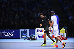 November 13, 2017 - London, England, United Kingdom - Lukasz Kubot of Poland and Marcelo Melo of Brazil win the Doubles match against Ivan Dodig of Croatia and Marcel Granollers of Spain during day two of the Nitto ATP World Tour Finals at O2 Arena, London on November 13, 2017. (Credit Image: © Alberto Pezzali/NurPhoto via ZUMA Press)