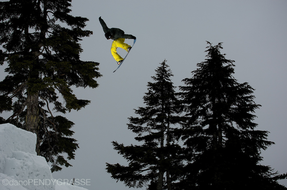 Professional snowboarder Mathieu Crepel rides at Mt. Seymour, near Vancouver, British Columbia, Canada.