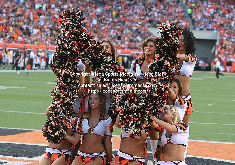 September 27 2009: Cincinnati Bengals Cheerleaders spelling out BENGALS during the game against the Pittsburgh Steelers at Paul Brown Stadium in Cincinnati, OH.