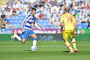 Reading's Oliver Norwood and MK Dons Samir Carruthers during the Sky Bet Championship match between Reading and Milton Keynes Dons at the Madejski Stadium, Reading, England on 22 August 2015. Photo by Mark Davies.
