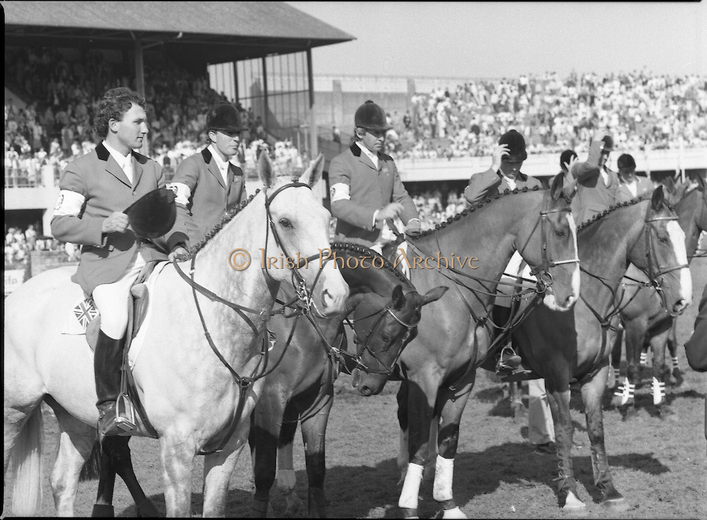 Aga Khan Cup at the RDS.    (R39)..1986..08.08.1986..8th August 1986..The annual Aga Khan Cup competition was held at the RDS ( Royal Dublin Showgrounds) today. In a keenly contested competition The Great Britain team emerged victorious. The Great Britain team was led by Chef dEquipe Mr Ronnie Massarella.