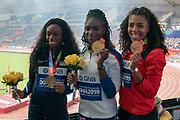 Brittany Brown (USA) Silver Medal, Dina Asher-Smith (Great Britain), Winner, Gold Medal, Mujinga Kambundju (Switzerland), 200 Metres Women, during the 2019 IAAF World Athletics Championships at Khalifa International Stadium, Doha, Qatar on 2 October 2019.