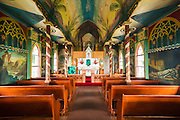 Interior of St. Benedict's Painted Church, Captain Cook, The Big Island, Hawaii USA
