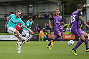Forest Green Rovers Carl Winchester(7) shoots at goal during the EFL Sky Bet League 2 match between Forest Green Rovers and Port Vale at the New Lawn, Forest Green, United Kingdom on 8 September 2018.