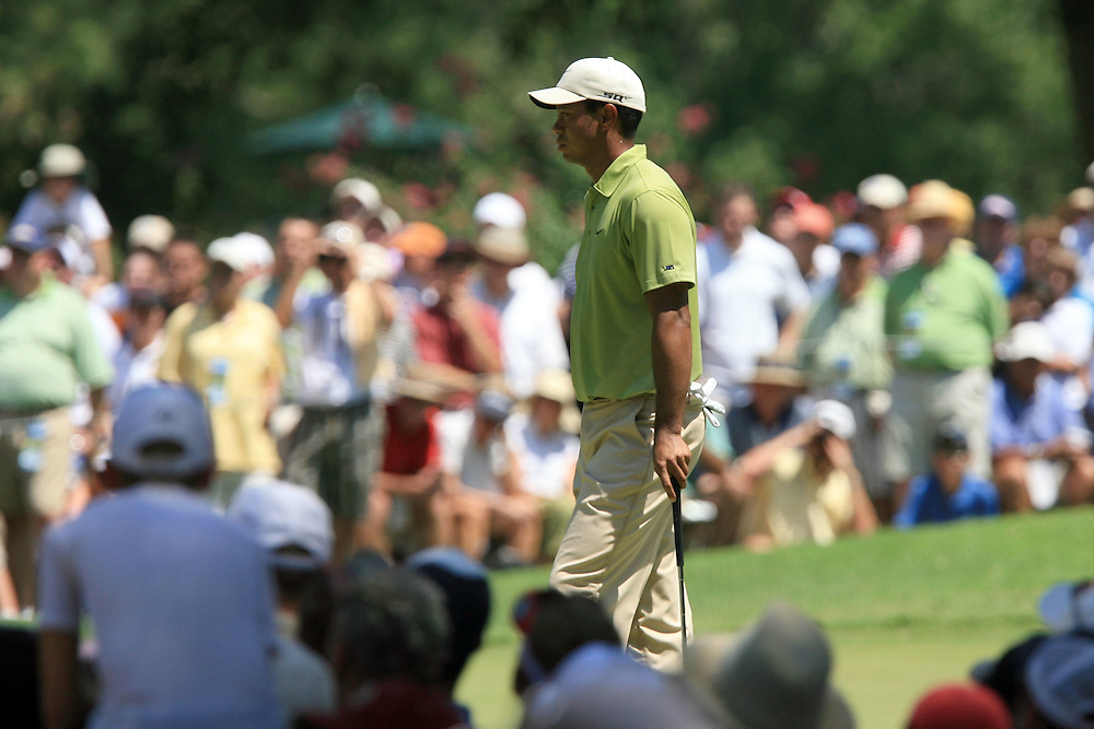 11 August 2007: Tiger Woods waits to play the 1st green during the third round of the 89th PGA Championship at Southern Hills Country Club in Tulsa, OK.