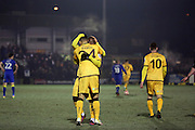 Sutton United striker Maxime Biamou (24) celebrating winning during the The FA Cup third round replay match between AFC Wimbledon and Sutton United at the Cherry Red Records Stadium, Kingston, England on 17 January 2017. Photo by Matthew Redman.
