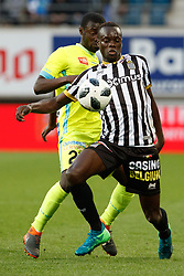 May 4, 2018 - Gent, BELGIUM - Gent's Nana Asare and Charleroi's Mamadou Fall fight for the ball during the Jupiler Pro League match between KAA Gent and Sporting Charleroi, in Gent, Friday 04 May 2018, on day seven (out of ten) of the Play-Off 1 of the Belgian soccer championship. BELGA PHOTO KURT DESPLENTER (Credit Image: © Kurt Desplenter/Belga via ZUMA Press)