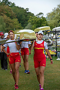 Lucerne, SWITZERLAND, 12th July 2018, Friday  FISA World Cup series, No.3, Lake Rotsee, Lucerne,  CHN W4X, carrying boat, Photographer Karon PHILLIPS