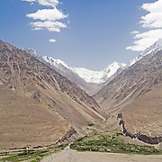 View through Afghan valley to Pakistan's Hindu Kush range