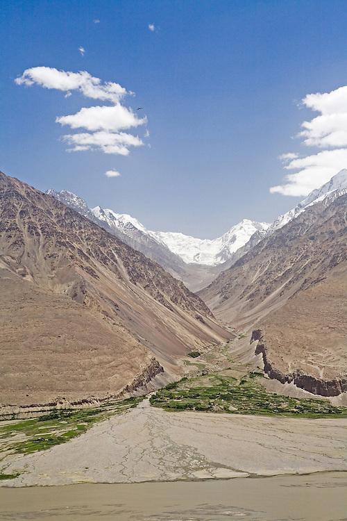 View through Afghan valley to Pakistan's Hindu Kush range