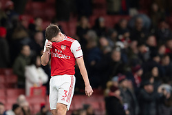 LONDON, ENGLAND - Thursday, December 5, 2019: Arsenal's Kieran Tierney looks dejected during the FA Premier League match between Arsenal FC and Brighton & Hove Albion FC at the Emirates Stadium. Arsenal lost 2-1. (Pic by Vegard Grott/Propaganda)