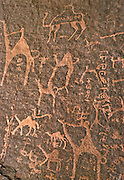 4000 year old rock drawings are to be found throughout Wadi Rum, a vast desert wilderness also known as 'The Valley of the Moon' - Jordan