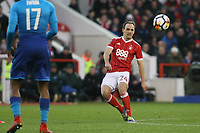 Nottingham Forest's David Vaughan spreads the play for Forest against Arsenal  during The Emirates FA Cup Third Round match between Nottingham Forest and Arsenal at City Ground on January 7, 2018 in Nottingham, England..
