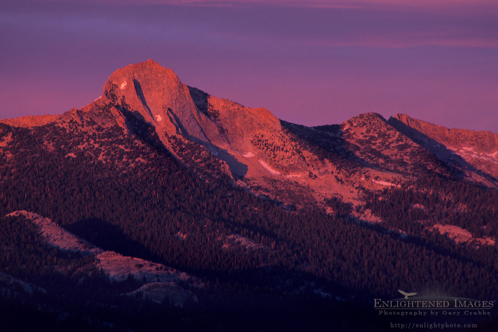 Alpenglow at sunset on Mount Clark from atop Sentinel Dome, Yosemite National Park, CALIFORNIA