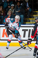KELOWNA, CANADA - FEBRUARY 18: Nolan Foote #29 of the Kelowna Rockets skates with the puck against the Prince George Cougars on February 18, 2017 at Prospera Place in Kelowna, British Columbia, Canada.  (Photo by Marissa Baecker/Shoot the Breeze)  *** Local Caption ***