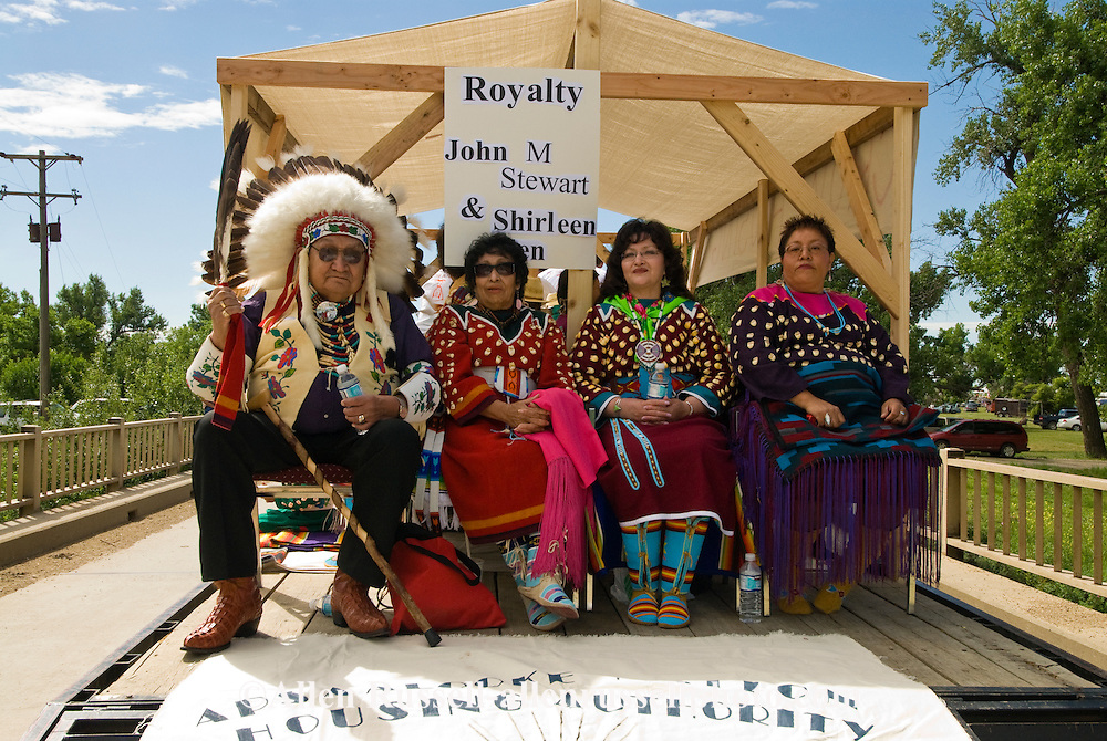Native Days Parade at Crow Agency Montana, Crow Indian Reservation, float with Royalty elders