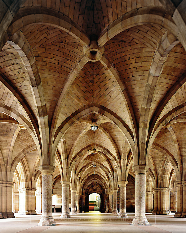 The Cloisters, beneath the tower of the University of Glasgow. Designed by architect, George Gilbert Scott.<br />