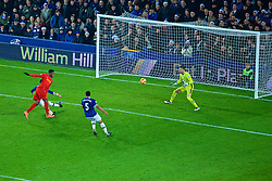 LIVERPOOL, ENGLAND - Monday, December 19, 2016: Liverpool's Divock Origi misses a chance against Everton's goalkeeper Maarten Stekelenburg during the FA Premier League match, the 227th Merseyside Derby, at Goodison Park. (Pic by Gavin Trafford/Propaganda)