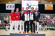 Prijsuitreiking Mannen Junior 1. Jannik Liersch, 2. Sven Ris, 3. Julian Kogi<br /> FEI World Championships Vaulting 2019<br /> © DigiShots