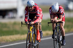 The Indiana University - Bloomington team of Graham Gifford, Isaac Neff, Ren-Jay Shei, Mike Sherer, and Brett Stewart competes in the men's division 1 race.  The 2008 USA Cycling Collegiate National Championships Team Time Trial event was held near Wellington, CO on May 9, 2008.  Teams of 3 or 4 riders raced over a 20km out and back course that ran along a service road to Interstate 25.