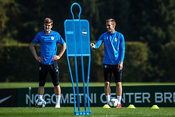 Jaka Bijol and Robert Beric during practice session of Slovenian national football team, on October 10, 2018 in National Football Center Brdo, Kranj, Slovenia. Photo by Grega Valancic / Sportida