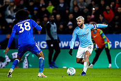 Sergio Aguero of Manchester City takes on Hamza Choudhury of Leicester City - Mandatory by-line: Robbie Stephenson/JMP - 18/12/2018 - FOOTBALL - King Power Stadium - Leicester, England - Leicester City v Manchester City - Carabao Cup Quarter Finals