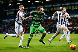 Gylfi Sigurdhsson of Swansea City is challenged by James McClean of West Bromwich Albion - Mandatory byline: Rogan Thomson/JMP - 02/02/2016 - FOOTBALL - The Hawthornes - West Bromwich, England - West Bromwich Albion v Swansea City - Barclays Premier League.