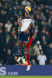 Brown Ideye of West Brom and Ashley Williams of Swansea City compete in the air - Photo mandatory by-line: Rogan Thomson/JMP - 07966 386802 - 11/02/2015 - SPORT - FOOTBALL - West Bromwich, England - The Hawthorns - West Bromwich Albion v Swansea City - Barclays Premier League.