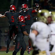 November 06, 2015; Oregon City, OR, USA; CONNOR MITCHELL (5)  celebrates his touchdown. Oregon City hosted Southridge at Pioneer Stadium.  Photo by David Blair
