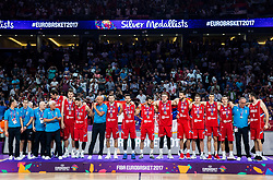 Second placed Team Serbia at Trophy ceremony after the Final basketball match between National Teams  Slovenia and Serbia at Day 18 of the FIBA EuroBasket 2017 when Slovenia became European Champions 2017, at Sinan Erdem Dome in Istanbul, Turkey on September 17, 2017. Photo by Vid Ponikvar / Sportida