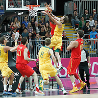 31 July 2012: Australia Joe Ingles goes for the layup over Spain Serge Ibaka during the 82-70 Spain victory over Australia, during the men's basketball preliminary, at the Basketball Arena, in London, Great Britain.