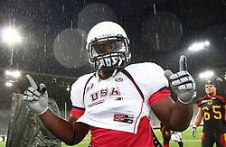 10.07.2011, Tivoli Stadion, Innsbruck, AUT, American Football WM 2011, Group A, Germany (GER) vs United States of America (USA), im Bild Gerard  Bryant (USA, #51, DL) after the win against germany // during the American Football World Championship 2011 Group A game, Germany vs USA, at Tivoli Stadion, Innsbruck, 2011-07-10, EXPA Pictures © 2011, PhotoCredit: EXPA/ T. Haumer