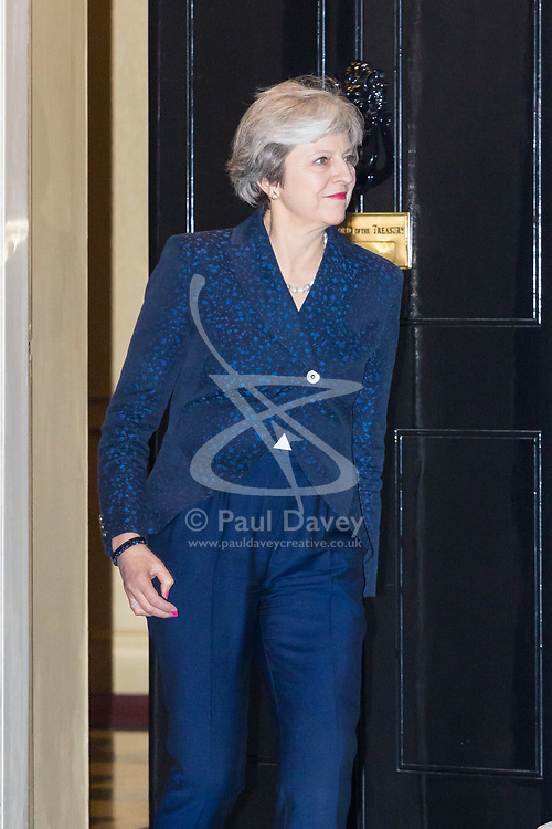 London, November 14 2017. First Minister of Scotland and leader of the SNP Nicola Sturgeon is welcomed at 10 Downing Street by British Prime Minister Theresa May. © Paul Davey