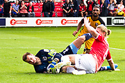 Port Vale goalkeeper Scott Brown makes a save from Salford City defender Carl Piergianni  during the EFL Sky Bet League 2 match between Salford City and Port Vale at Moor Lane, Salford, United Kingdom on 17 August 2019.