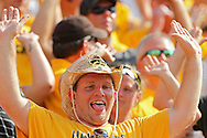 August 31 2013: An Iowa Hawkeyes fan during the second quarter of the NCAA football game between the Northern Illinois Huskies and the Iowa Hawkeyes at Kinnick Stadium in Iowa City, Iowa on August 31, 2013. Northern Illinois defeated Iowa 30-27.