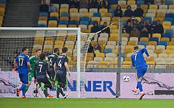 KIEV, UKRAINE - Easter Monday, March 28, 2016: Ukraine's Andriy Yarmolenko scores the first goal against Wales during the International Friendly match at the NSK Olimpiyskyi Stadium. (Pic by David Rawcliffe/Propaganda)