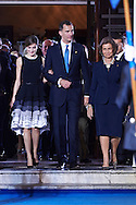 King Felipe VI of Spain, Queen Letizia of Spain, Queen Sofia of Spain leave the 'Princesa de Asturias Awards 2015 (Princess of Asturias awards)' ceremony at the Campoamor Theater on October 23, 2015 in Oviedo, Spain.