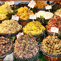 Dried Fruits and Nuts on Display at Market in Istanbul, Turkey<br /> During a visit to Turkey you should try some dried fruit like these on display at a market in Istanbul.  Among the offerings are pineapple, apricots, mango, kavun (ripe melon), zencefil (ginger), ceviz (walnuts) and visne (cherries). Apparently, Turkey in general and Istanbul in particular is a significant exporter of dried fruits and nuts and has an association of over 100 members.  So, once you are home, you can still enjoy these treats.