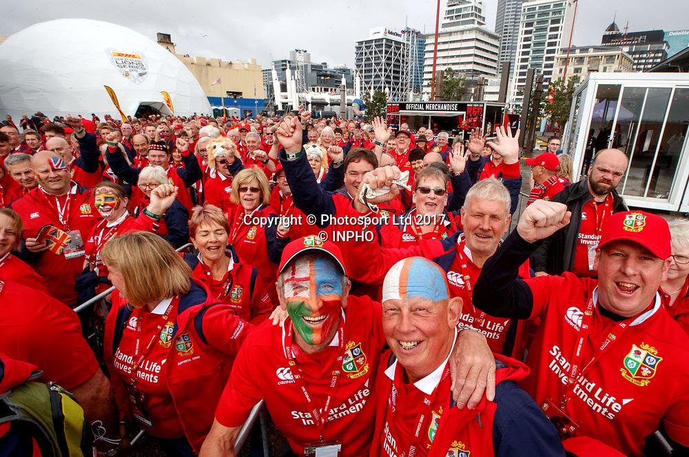 The Lions Den Supporters Village, The Cloud, Auckland, New Zealand 24/6/2017<br /> Lions fans arrive at the The Lions Den<br /> Mandatory Credit &copy;INPHO/James Crombie / www.photosport.nz