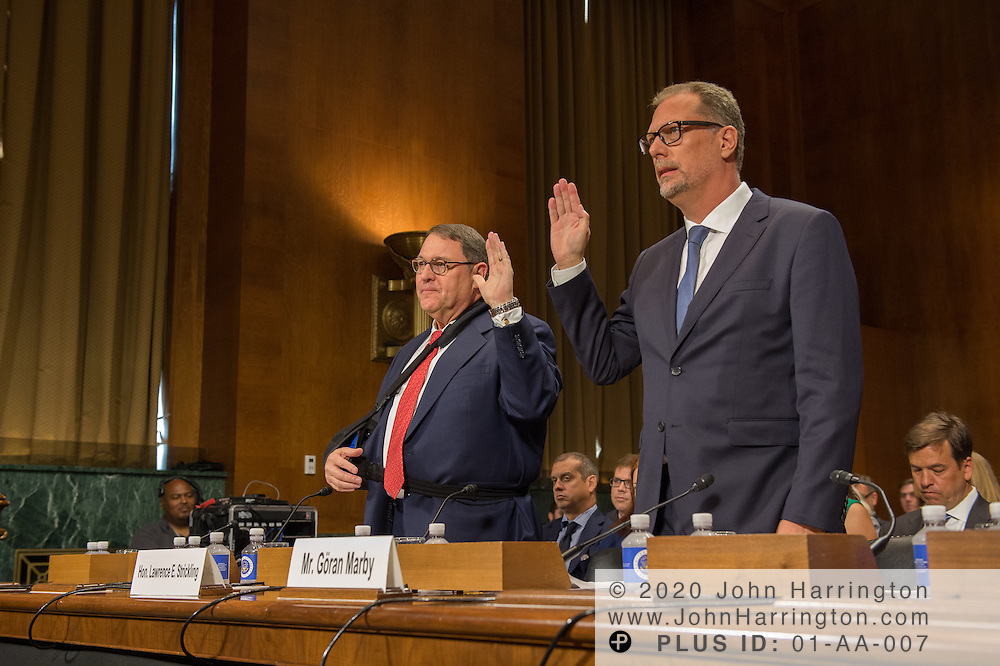 """Being sworn in are The Honorable Lawrence E. Strickling, Assistant Secretary for Communications and Information and Administrator<br /> National Telecommunications and Information Administration (NTIA), United States Department of Commerce;  Mr. Göran Marby, CEO and President, Internet Corporation for Assigned Names and Numbers (ICANN) Wednesday September 14, 2016, before the Subcommittee on Oversight, Agency Action, Federal Rights and Federal Courts, testimony was also heard from The Honorable Lawrence E. Strickling, Assistant Secretary for Communications and Information and Administrator<br /> National Telecommunications and Information Administration (NTIA), United States Department of Commerce;  Mr. Göran Marby, CEO and President, Internet Corporation for Assigned Names and Numbers (ICANN); Mr. Berin Szoka, President, TechFreedom; Mr. Jonathan Zuck, President, ACT The App Association;  Ms. Dawn Grove, Corporate Counsel<br /> Karsten Manufacturing; Ms. J. Beckwith (""""Becky"""") Burr, Deputy General Counsel and Chief Privacy Officer, Neustar;  Mr. John Horton, President and CEO, LegitScript;  Mr. Steve DelBianco, Executive Director, NetChoice; Mr. Paul Rosenzweig, Former Deputy Assistant Secretary for Policy, U.S. Department of Homeland Security."""