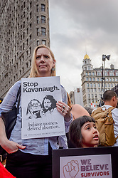 October 1, 2018 - New York, New York, United States - Over a thousand New Yorkers joined a march organized on October 1, 2018 to voice their opposition to Brett Kavanaugh's Supreme Court confirmation. Participants gathered in Madison Square Park, marching to the Yale Club, and ending with a rally in Grand Central. (Credit Image: © Erik Mcgregor/Pacific Press via ZUMA Wire)