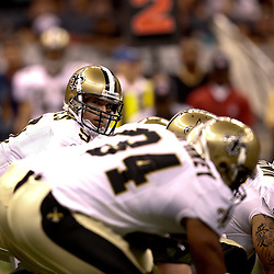 August 27, 2010; New Orleans, LA, USA; New Orleans Saints quarterback Drew Brees (9) under center during the first half of a preseason game at the Louisiana Superdome. The New Orleans Saints defeated the San Diego Chargers 36-21. Mandatory Credit: Derick E. Hingle