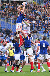 March 16, 2019 - Rome, Italy - Sergio Parisse and Felix Lambey during RBS Six Nations Rugby Championship, Italia v Francia at the Olympic Stadium in Rome, on march 16, 2019  (Credit Image: © Silvia Lore/NurPhoto via ZUMA Press)
