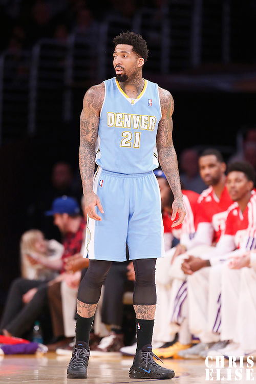 05 January 2014: Denver Nuggets small forward Wilson Chandler (21) is seen during the Denver Nuggets 137-115 victory over the Los Angeles Lakers at the Staples Center, Los Angeles, California, USA.